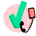 telefoon icoon met vinkje